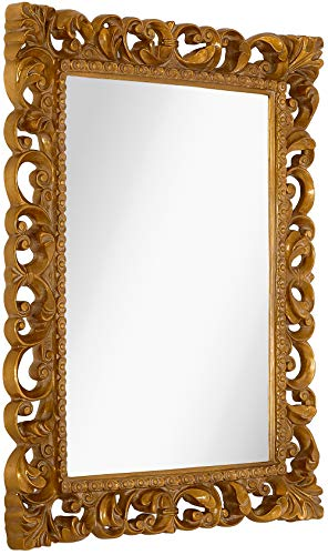 Hamilton Hills Antique Gold Ornate Baroque Frame Mirror | Elegant Old World Feel Beveled Plate Glass Mirrored Design | Hangs Horizontal or Vertical (28.5