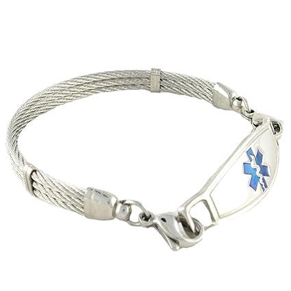 le plus en vogue style populaire qualité parfaite N Style ID Women's Personalized Medical Alert Bracelet Stainless Steel  Banpo Cable Blue Symbol 7.25