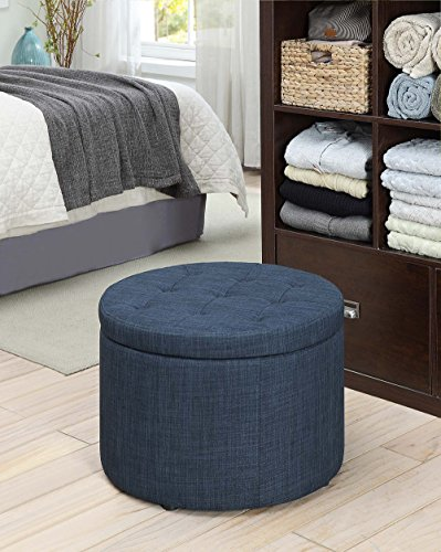 (Convenience Concepts 161546FBE Designs4Comfort Round Shoe Ottoman, Blue Fabric)