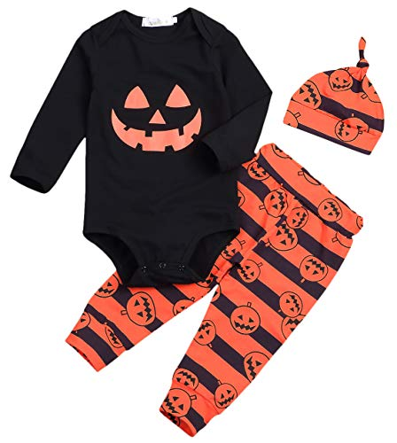 (3Pcs/ Outfit Set Baby Boy Girl Infant Halloween Pumpkin Costume Long Sleeve Rompers (0-6 Months,)