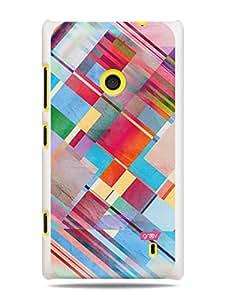 GRÜV Premium Case - 'Retro Art Deco Artesan Paper Texture : Geometric Watercolor Pastels' Design - Best Quality Designer Print on White Hard Cover - for Nokia Lumia 520 525