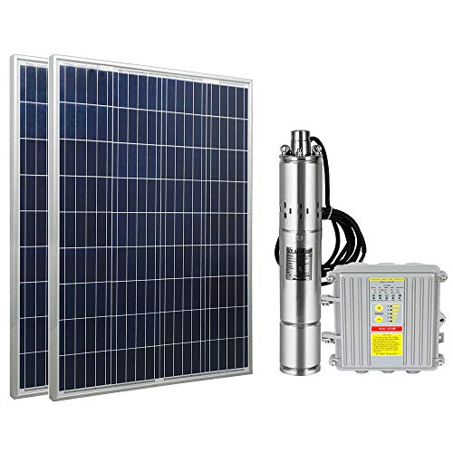 "ECO LLC DC 24V Solar Screw Pump Kit 3"" Deep Well Submersible Pump + 200W Poly Solar Panel + MPPT Controller"