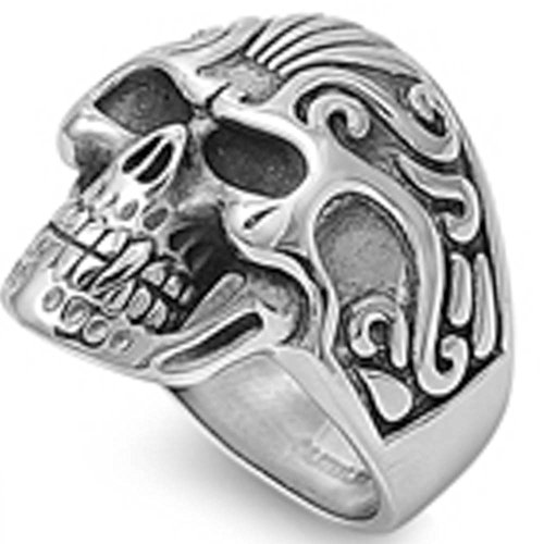 Solid Steel Skull 316L Stainless Steel Ring Sizes 17