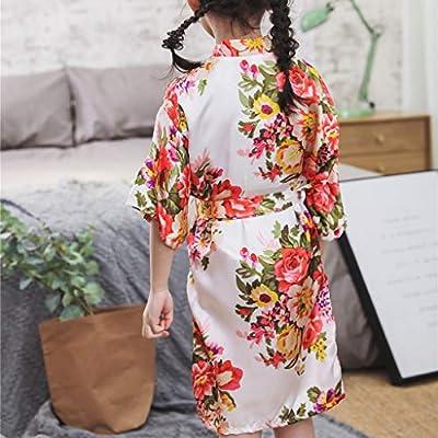 Toddler Baby Kid Floral Silk Satin Kimono Robes Bathrobe Sleepwear Clothes for Girls Boys: Clothing