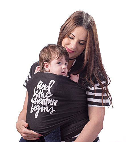 Unique Designed Baby Wrap Carrier Sling – By Besaki – Comfortable and Soft – Stlylish and Nice Designed Box + Carrying Bag + Instructions – Multiuse – Color Black and Grey (Black)