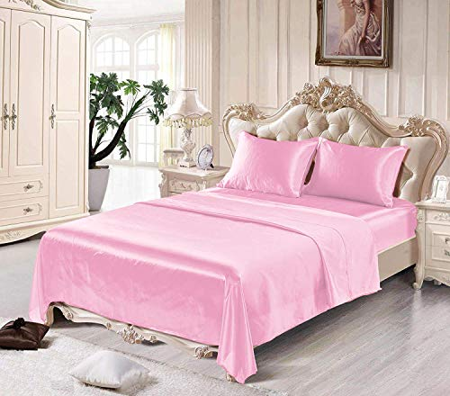 Satin Sheets King [4-Piece, Pink] Hotel Luxury Silky Bed Sheets - Extra Soft 1800 Microfiber Sheet Set, Wrinkle, Fade, Stain Resistant - Deep Pocket Fitted Sheet, Flat Sheet, Pillow Cases