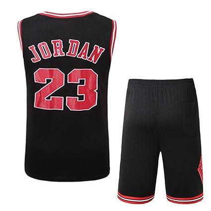détaillant en ligne a6c73 6f081 Rying Hommes Adulte Michael Jordan #23 Chicago Bulls Maillot Basketball  Jersey Basket Maillots de Basket Uniforme Top et Shorts Nouveau Tissu Brodé