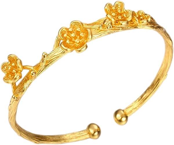 Shuxing Flower Patterned Cuff Bangle 18k Yellow Gold Plated Womens Beautiful Bangle Bracelet Gift