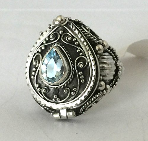 Sky Blue Topaz Tear drop Poison Ring Locket Sterling Silver Secret Compartment AR25