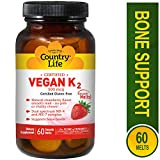 Product review for Country Life Certified Vegan K2 500 mcg - 60 Smooth Melts - strawberry Flavor - Dual Spectrum MK-4 and MK-7 complex