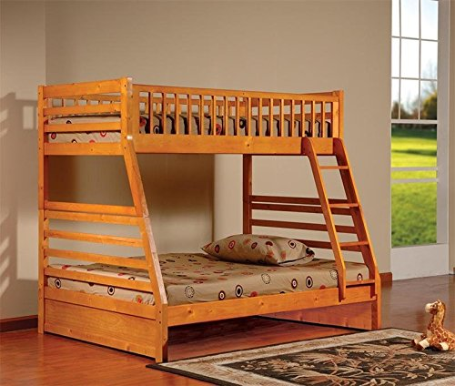 Wood Oak Kids Beds - Kings Brand Furniture Twin over Full Bunk Bed Honey Oak Finish Wood