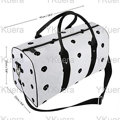 白地に黒のスカルシンナー1 旅行バッグナイロンハンドバッグ大容量軽量多機能荷物ポーチフィットネスバッグユニセックス旅行ビジネス通勤旅行スーツケースポーチ収納バッグ
