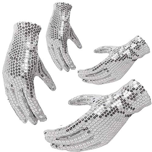 MCpinky Silver Glitter Gloves, 2 Pairs Michael Jackson Costume Sequins Gloves Dance Gloves Ice Skating Gloves, Double Side -