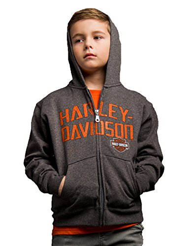 Harley-Davidson Boys Youth Brazen Defiance B&S Full Zip Charcoal Long Sleeve Hoodie -MD-10Y