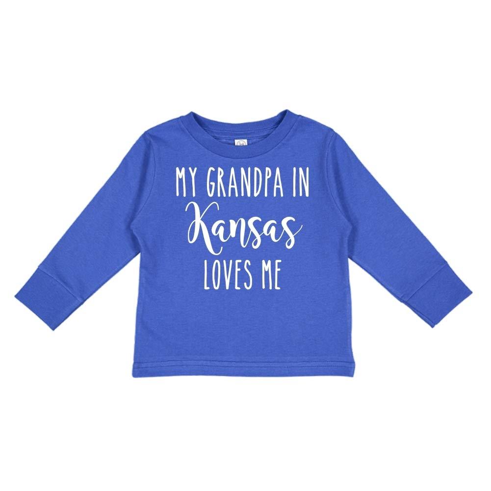 Toddler//Kids Long Sleeve T-Shirt My Grandpa in Kansas Loves Me
