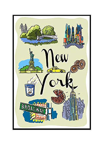 New York - Landmarks and Icons (16x24 Framed Gallery Wrapped Stretched Canvas)