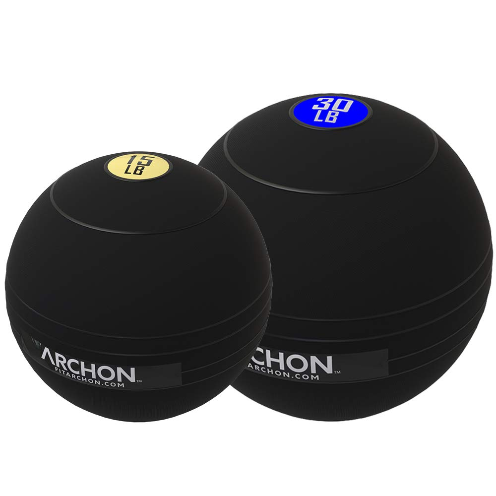 ARCHON Training 15 LB and 30 LB Pound Slam Ball Set | Crossfit Workout | No Bounce Exercise Ball | Gym Equipment Accessories | Plyometric Exercise | Cardio | Jam Ball | Squats | Medicine Ball
