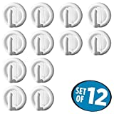 mDesign Self Adhesive Utility Storage Hook for Kitchen, Hallway, Entryway, Bathroom (Pack of 12) - White