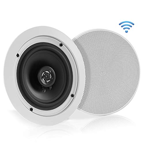 """Pyle 5.25"""" Pair Bluetooth Flush Mount In-wall In-ceiling 2-Way Speaker System Quick Connections Changeable Round/Square Grill Polypropylene Cone & Polymer Tweeter Stereo Sound 150 Watt (PDICBT552RD)"""