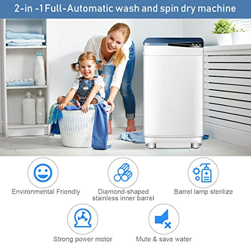 Safeplus Fully Automatic Portable-Washing-Machine,Small Washer and Spin Dryer 7.7 lbs Load Capacity Compact Laundry Washer with Built in Barrel Light for Apartments RVs and Small Space Living