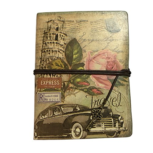 Vintage Travelers Notebook Leather Travel Journal Book Blank Page Kraft Paper Sketchbook Notebooks 2 Ring Binder (Rose)
