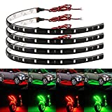 EverBright Waterproof Boat Bow Led Navigation Strip Light Flexible Car Motorcycles Decoration Light Interior Exterior led Neon Light (Red2+ Green2) Pack of 4