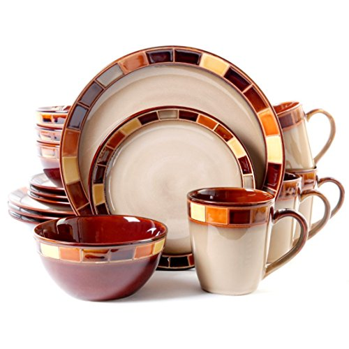 16 Piece Tan Dinnerware Set (Gibson Elite Casa Estebana 16-Piece Dinnerware Set)