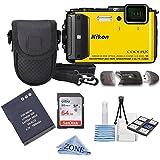 Nikon COOLPIX AW130 16.0-Megapixel 5X Optical Waterproof Digital Camera + Extra Battery, 64GB Memory Card+ Accessory Zone cloth + Accessory Bundle (Yellow)