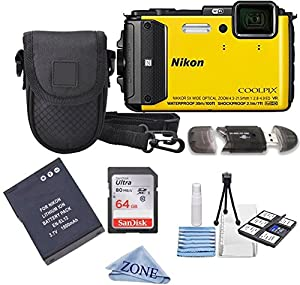 Nikon COOLPIX AW130 16.0-Megapixel 5X Optical Waterproof Digital Camera + Extra Battery, 64GB Memory Card+ Accessory Zone cloth + Accessory Bundle (Yellow)