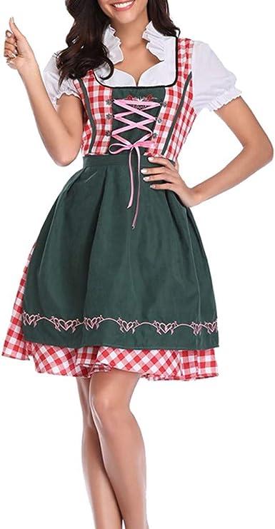 Femme dirndl bavarois lady robe verte adulte oktoberfest costume robe fantaisie