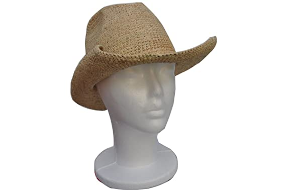 Goal 2020 Womens Crocheted Raffia Cowboy Small Size Hat with Natural ... 1bd24fc3eb1