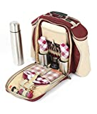 Greenfield Collection Super Deluxe Mulberry Red Picnic Backpack Hamper for Two People