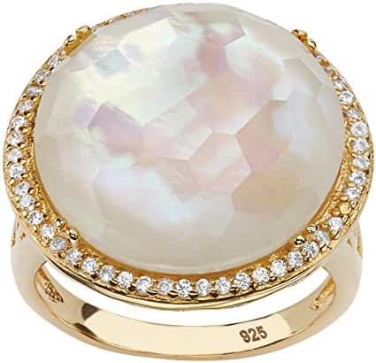 White Mother-Of-Pearl and Pave CZ 14k Gold over Sterling Silver Halo Cocktail Ring