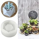 Jeteven Flower Pot Silicone Rubber Molds Candle Soap Bottle Mold Handmade Craft Mold DIY Garden Planter Vase Ashtray Mould Tool 8.5 x 8.5 x 3.8cm Round Diamond