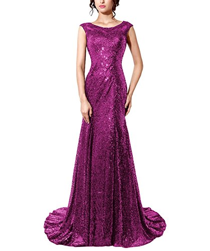 Bridal Long Formal Bess Fuchsia Dress Prom Sequins Gown Evening Mermaid Women's qxwwdCT