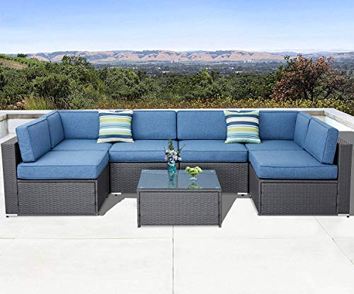 (SOLAURA Outdoor Furniture Set 7-Piece Wicker Furniture Modular Sectional Sofa Set Gray Wicker Olefin Fiber Soft Denim Blue Cushions with YKK Zipper &Coffee Table with Waterproof Cover)