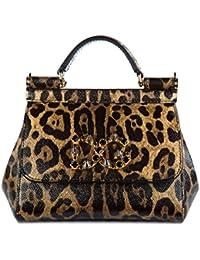 Dolce&Gabbana women's leather shoulder bag original mini sicily dauphine brown