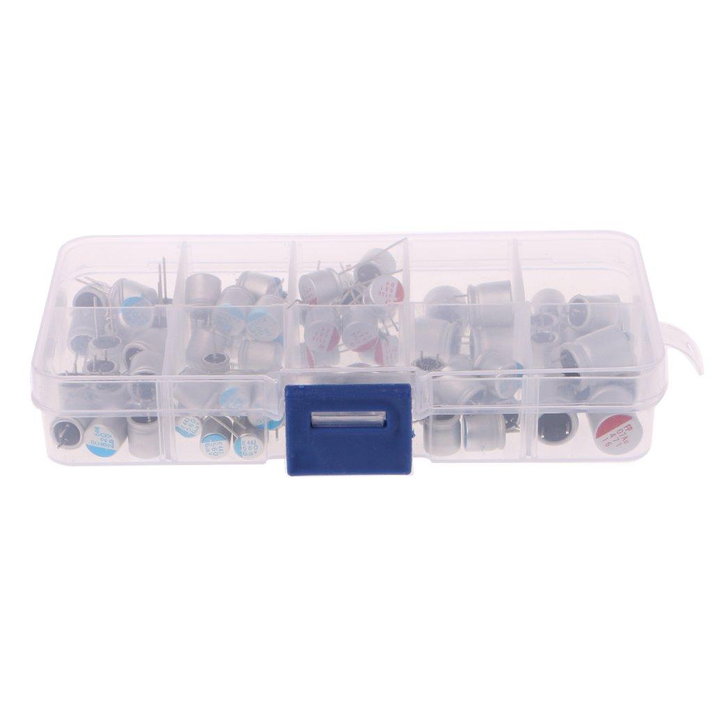 90 pezzi 10 valori condensatore fisso condensatore Assorted Kit 2.5V-16V 100uF-1500uF con scatola