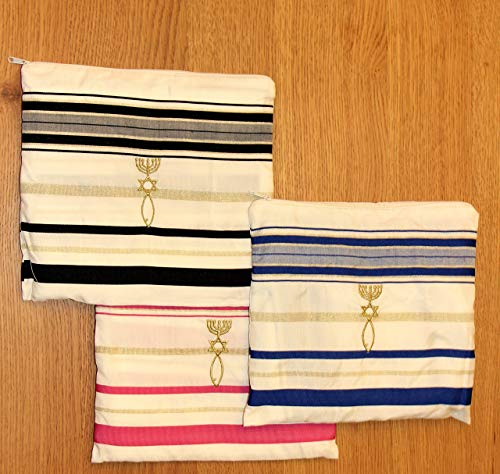 3 Prayer shawl Christian Gift pack Blue,black and Pink Tallit + bag from the Holy Land ()