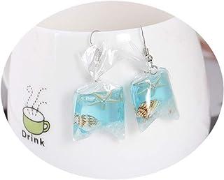 Funny Acrylic Ocean Fish Conch Pocket Drop Dangle Earrings Creative For Girls