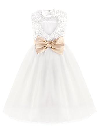 iEFiEL Elégante Robe de Mariage Blanche Sans Manches Coeur Noeud Papillon  Enfant Fille , blanc 10