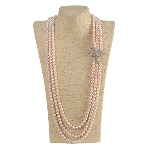 nestone Bow Pearl Strands Necklaces (light pink) ()
