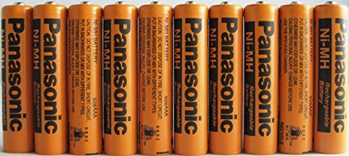 Panasonic HHR-75AAA/B-10 Ni-MH Rechargeable Battery for Cordless Phones, 700 mAh (Pack of 10) by Panasonic