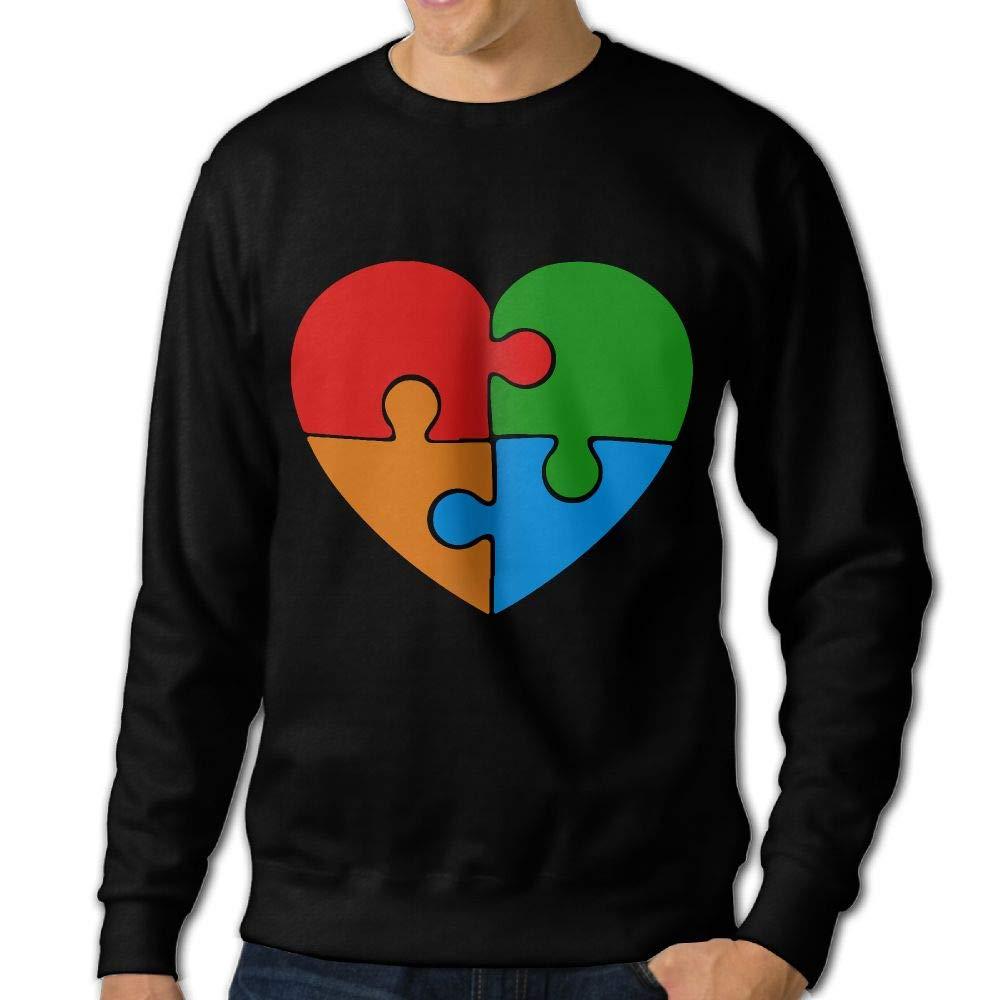 Awareness Puzzle Heart Adult Mens Sports Long Sleeve Hoody T-Shirt LLiYing-D Autism
