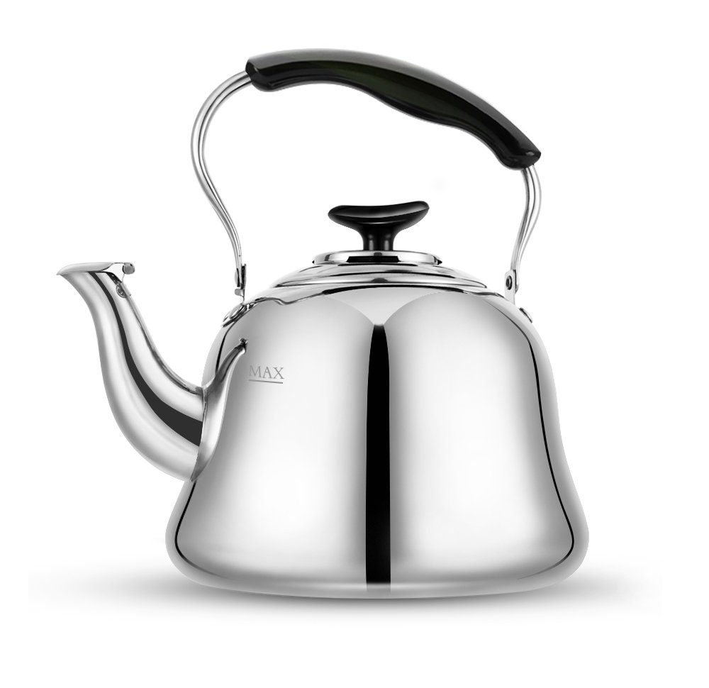 Tea Kettle Stovetop Kettles Stainless Steel Teapot-Soft Whistling Mirror Finish, Fold Handle,Lightweight, Fast Boiling, 2 Quart