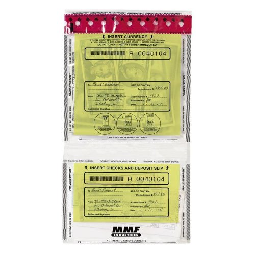 MMF Industries Tamper-Evident Twin Deposit Bags, 9.5 x 17.5-Inch, 100 Bags per Pack, Clear (2362500N20)
