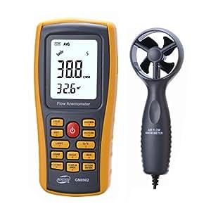 Amgaze Flujo de aire anemómetro, multifuncional Digital viento velocidad aire flujo medidor aire temperatura medidor de medición 0 ~ 45m/s con interfaz USB
