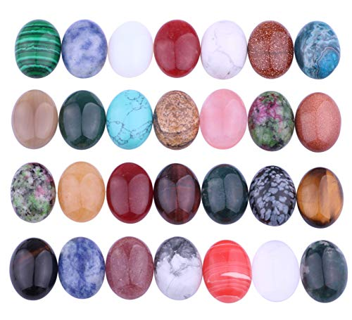 - 20pcs Mix Kinds Natural Gemstone Cabochon Cameo Flatback Beads Crystal Agate Natural Stone for Jewelry Making (Oval 18×25mm)