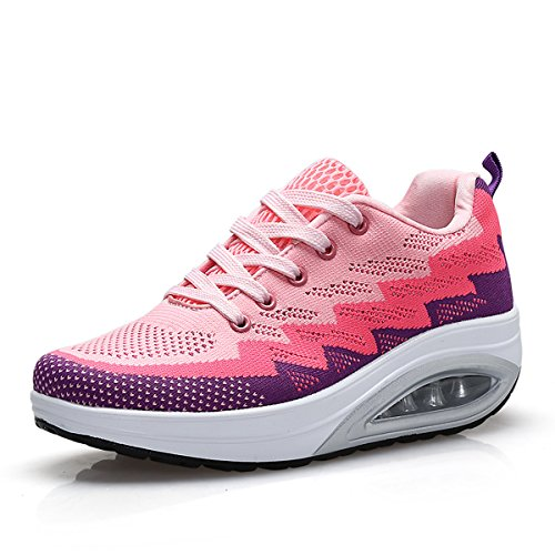 JARLIF Women's Comfortable Platform Walking Sneakers Lightweight Casual Tennis Air Fitness Shoes (7 B(M) US, Pink)
