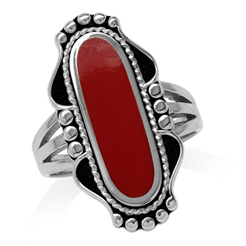- Long Created Red Coral Inlay 925 Sterling Silver Baroque Inspired Ring Size 6